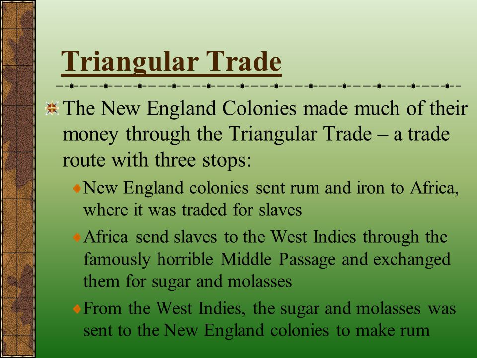 Triangular Trade The New England Colonies made much of their money through the Triangular Trade – a trade route with three stops: