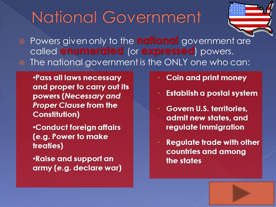 National Government Powers given only to the national government are called enumerated (or expressed) powers.