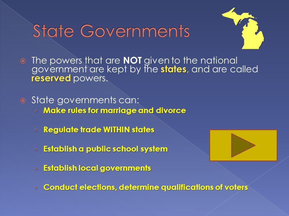 State Governments The powers that are NOT given to the national government are kept by the states, and are called reserved powers.