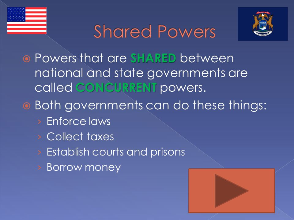 Shared Powers Powers that are SHARED between national and state governments are called CONCURRENT powers.