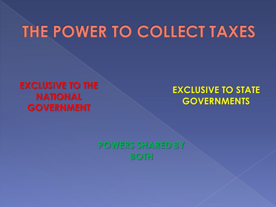 THE POWER TO COLLECT TAXES