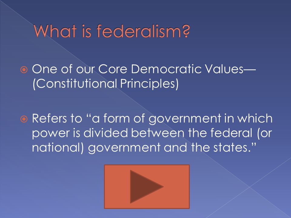 What is federalism One of our Core Democratic Values—(Constitutional Principles)