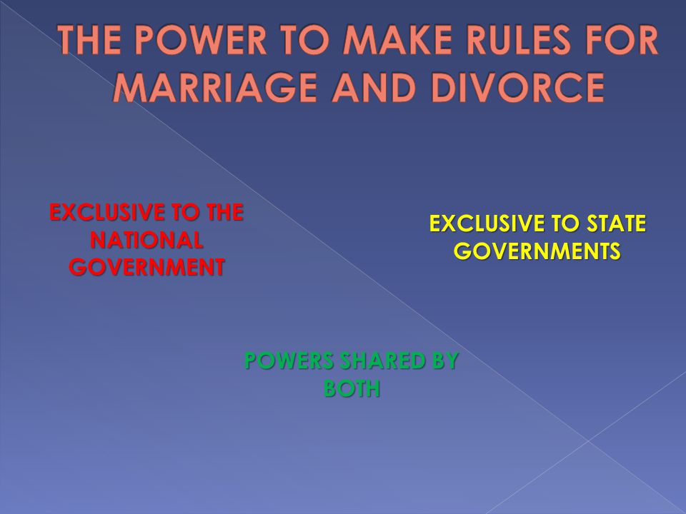 THE POWER TO MAKE RULES FOR MARRIAGE AND DIVORCE