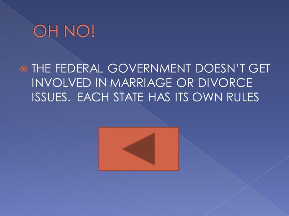 OH NO. THE FEDERAL GOVERNMENT DOESN'T GET INVOLVED IN MARRIAGE OR DIVORCE ISSUES.