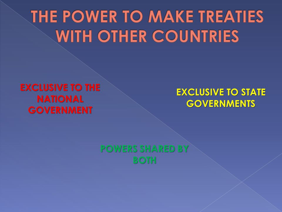THE POWER TO MAKE TREATIES WITH OTHER COUNTRIES