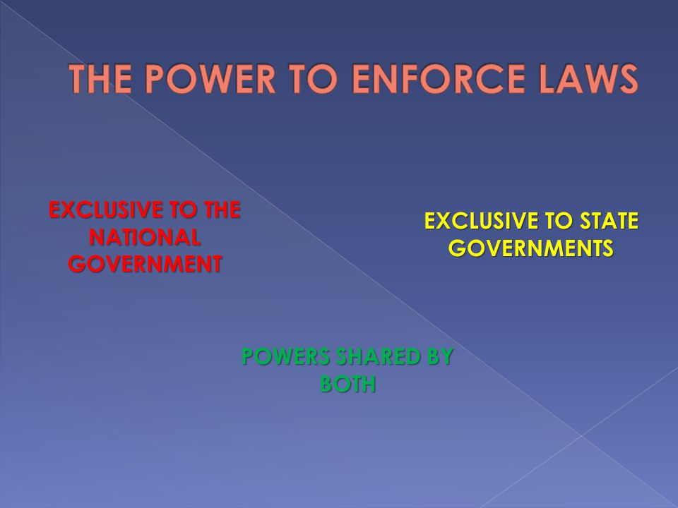 THE POWER TO ENFORCE LAWS