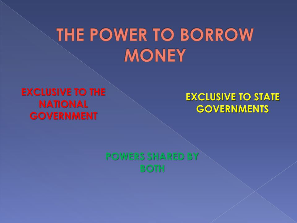 THE POWER TO BORROW MONEY