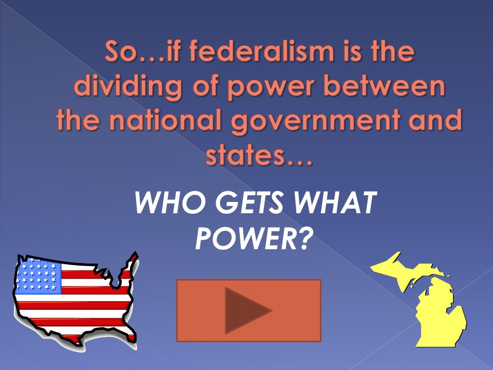 So…if federalism is the dividing of power between the national government and states…