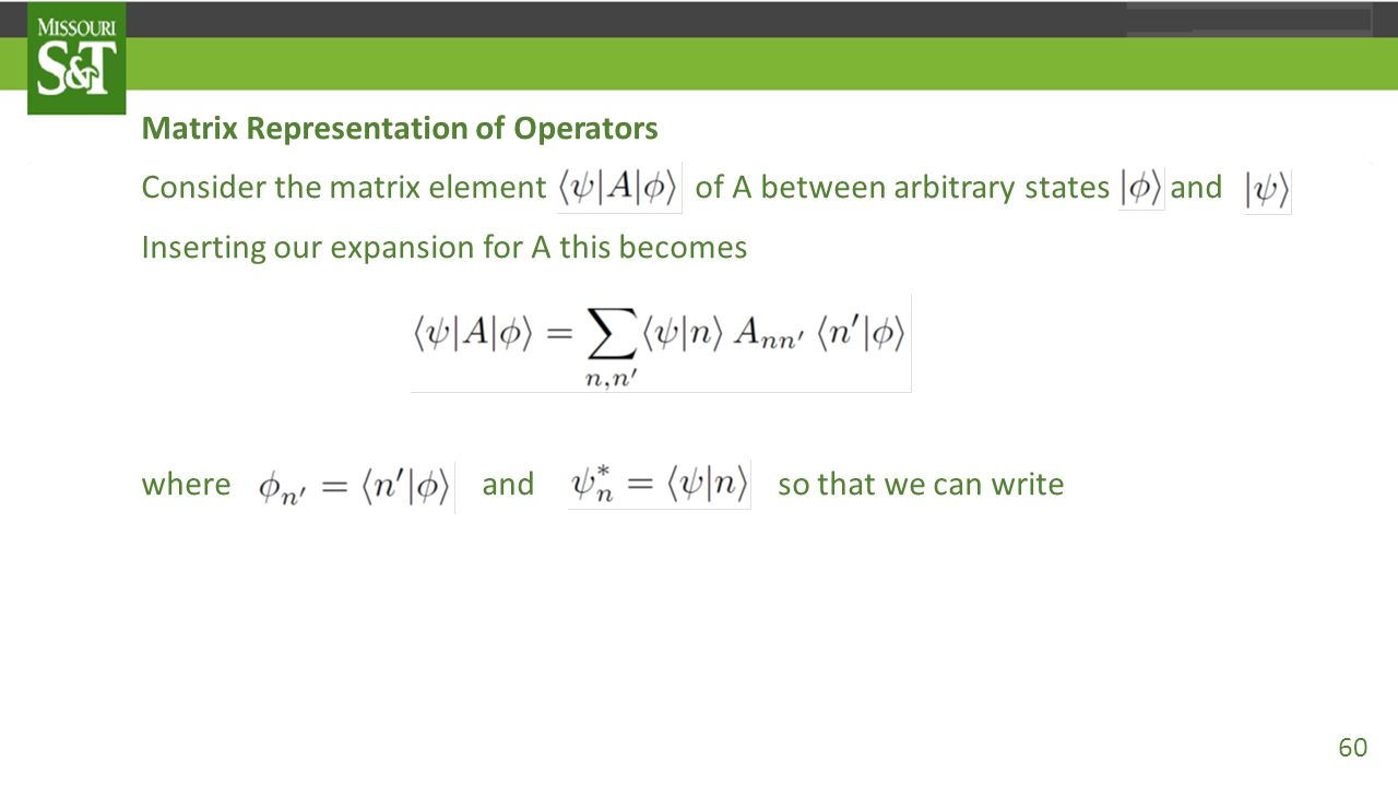 Matrix Representation of Operators