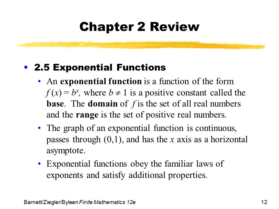 Chapter 2 Review 2.5 Exponential Functions
