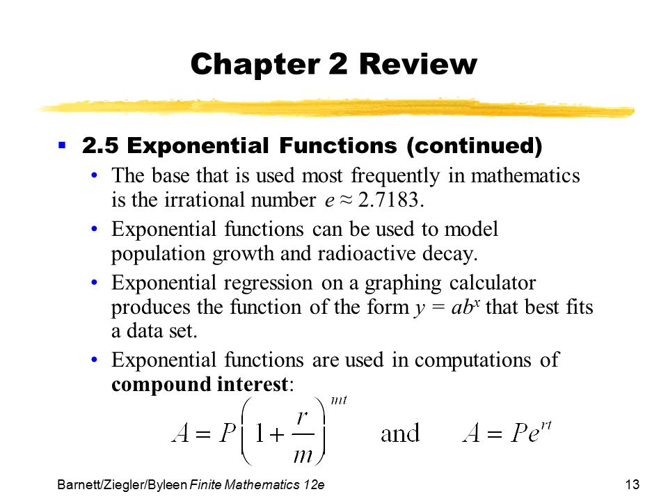 Chapter 2 Review 2.5 Exponential Functions (continued)