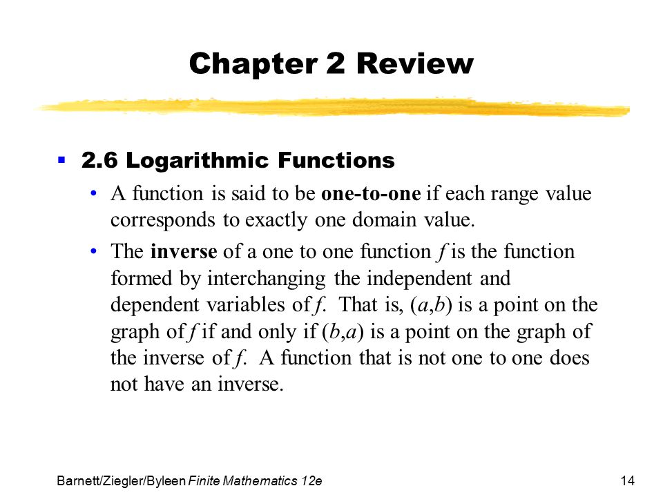 Chapter 2 Review 2.6 Logarithmic Functions