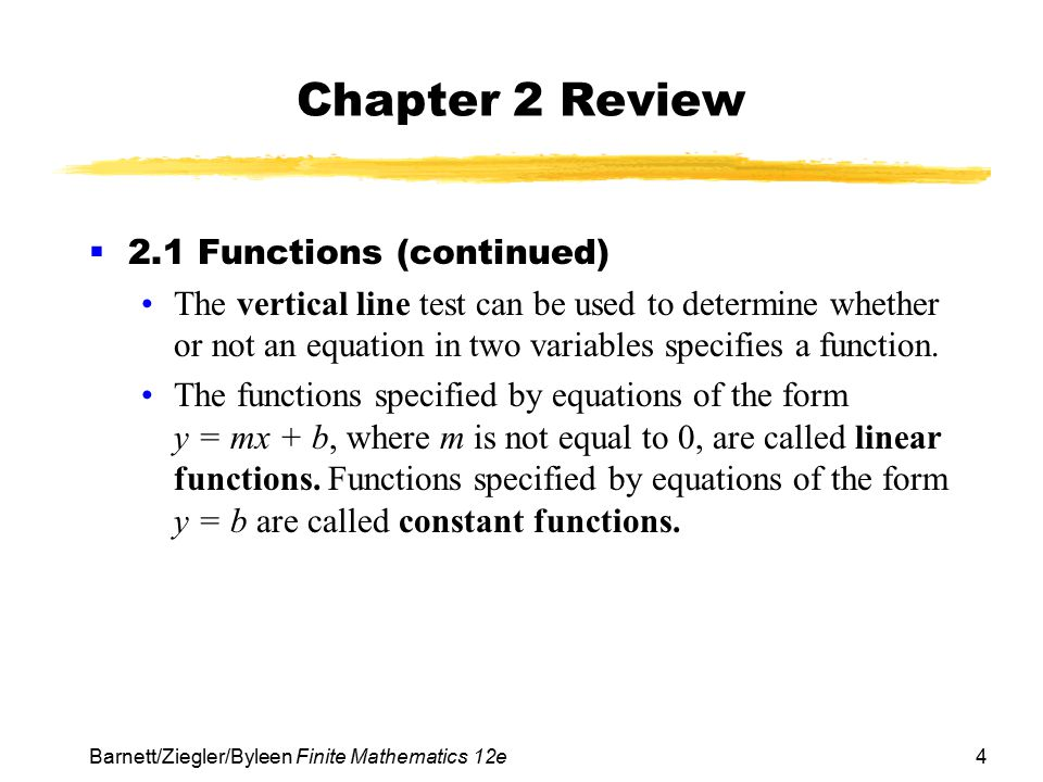 Chapter 2 Review 2.1 Functions (continued)
