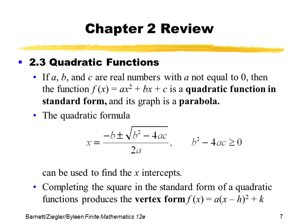 Chapter 2 Review 2.3 Quadratic Functions