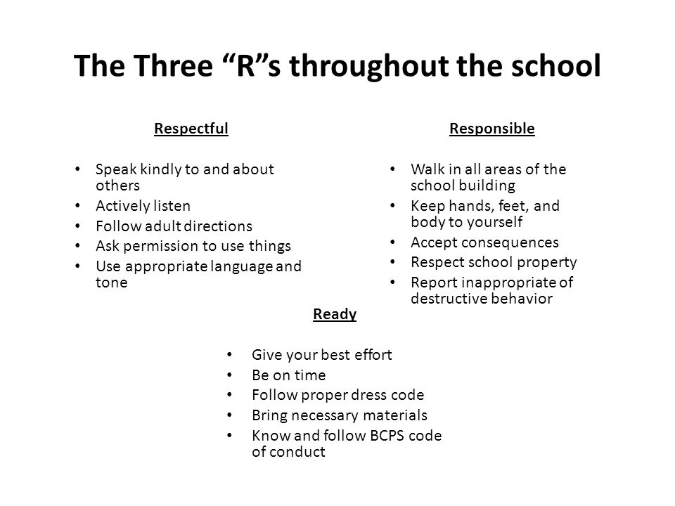 The Three R s throughout the school