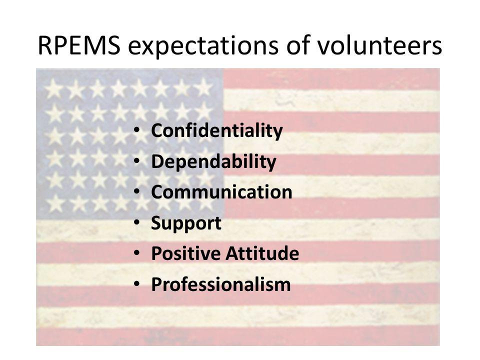 RPEMS expectations of volunteers