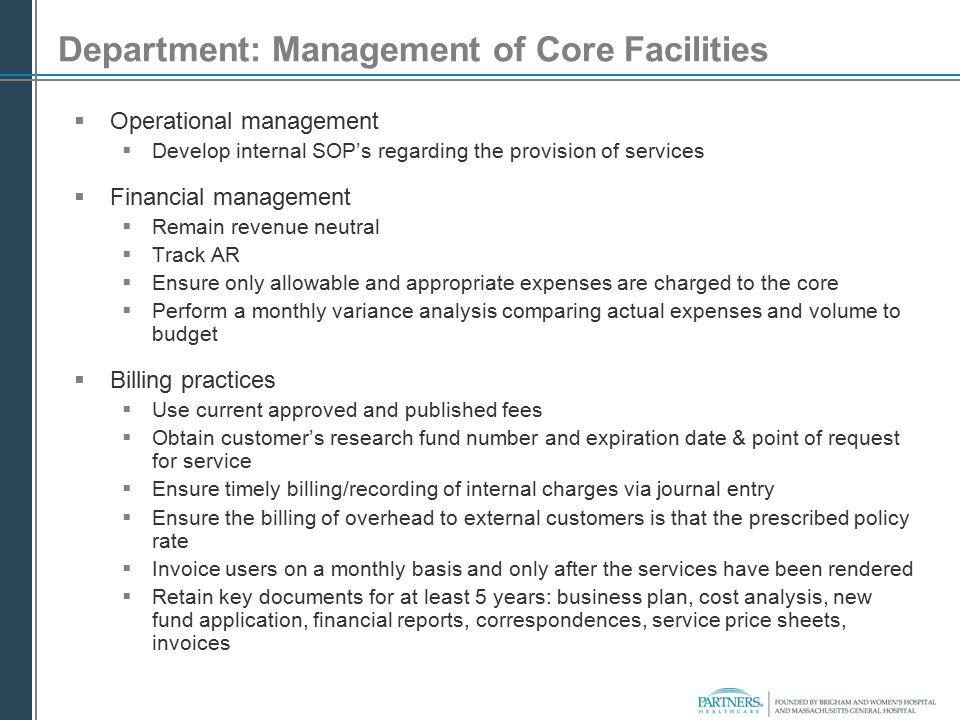 Department: Management of Core Facilities