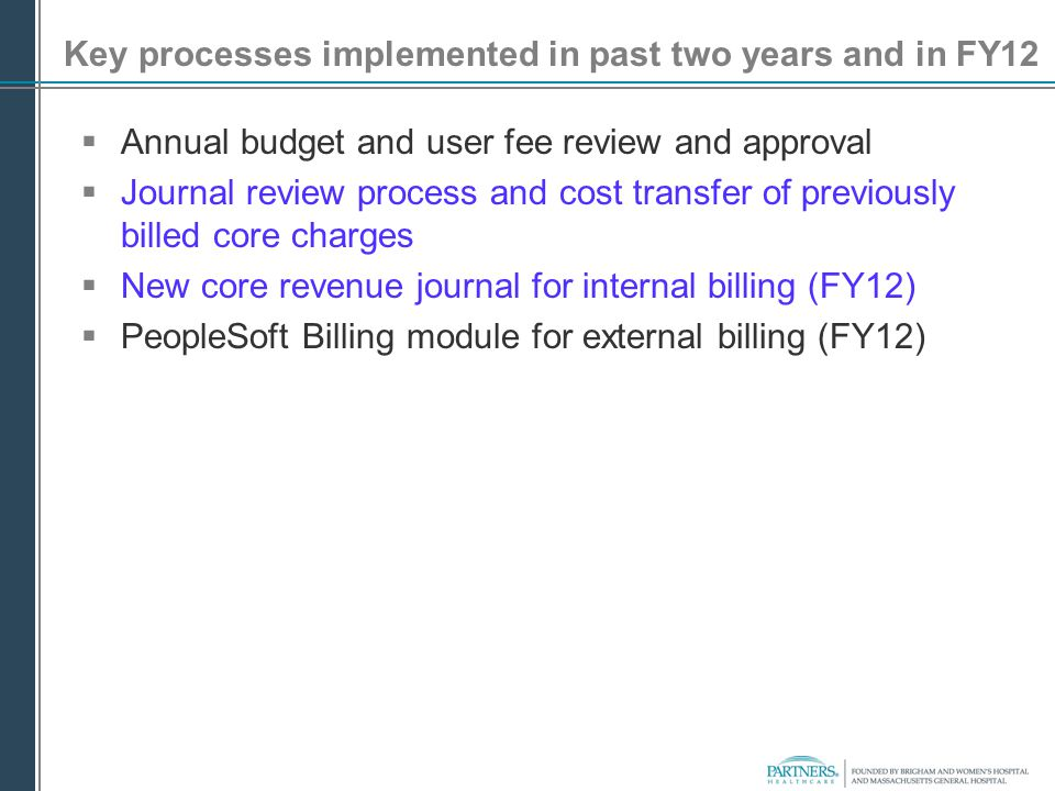 Key processes implemented in past two years and in FY12