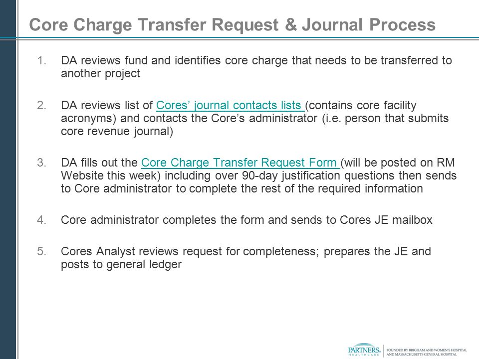 Core Charge Transfer Request & Journal Process