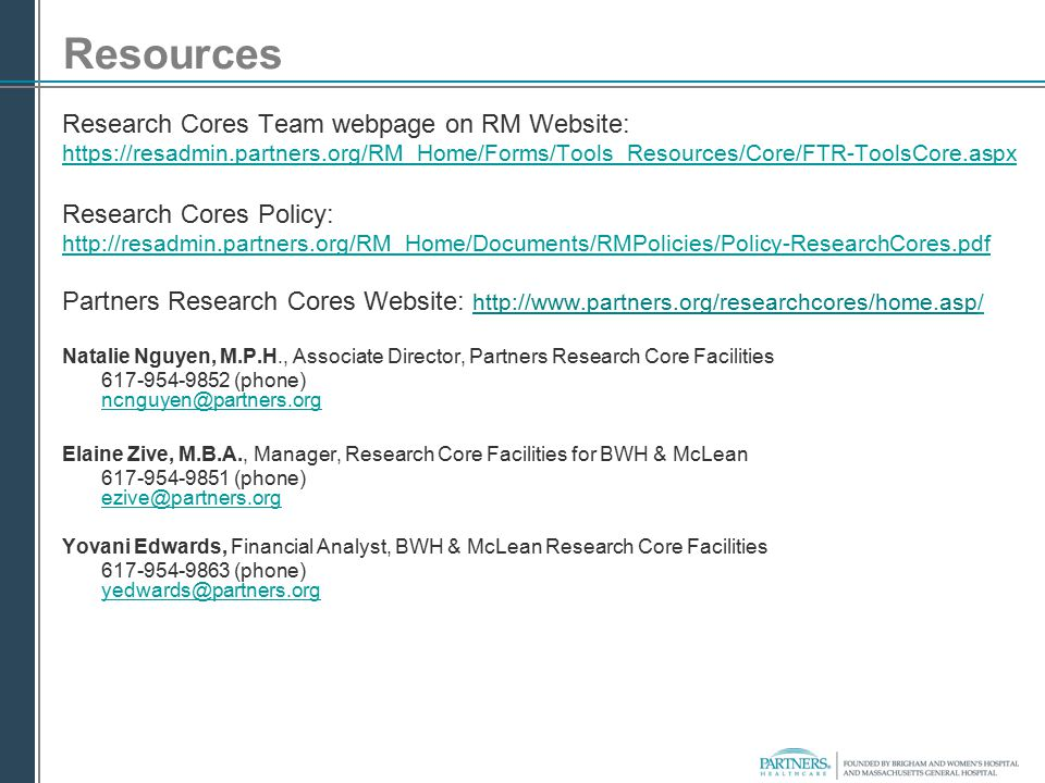 Resources Research Cores Team webpage on RM Website: