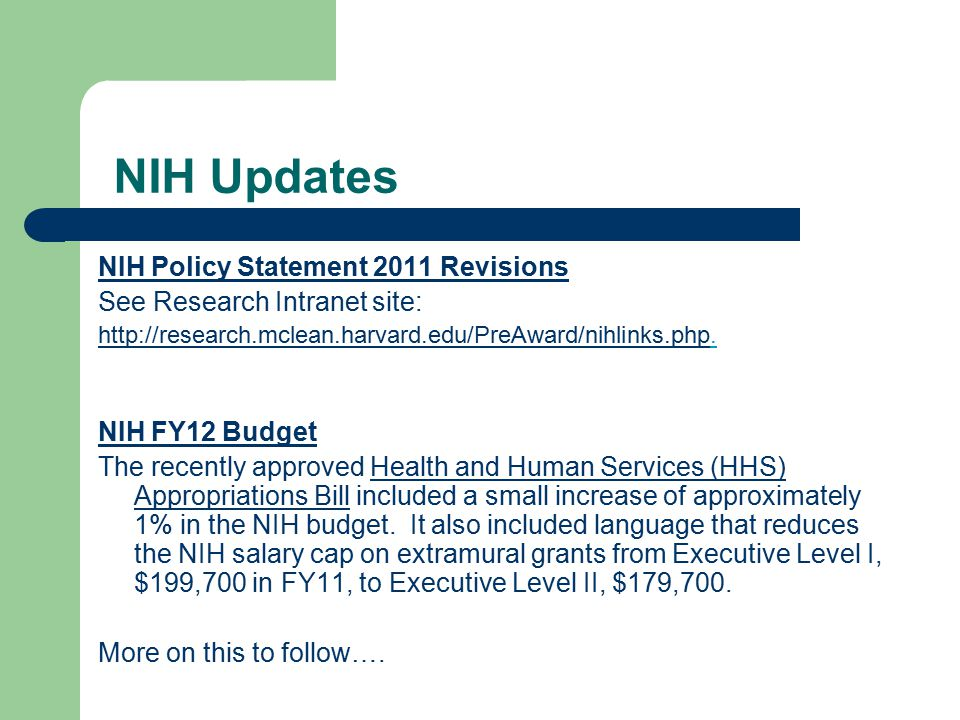 NIH Updates NIH Policy Statement 2011 Revisions