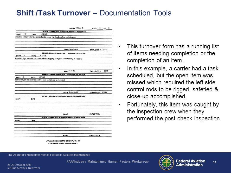 Shift /Task Turnover – Documentation Tools
