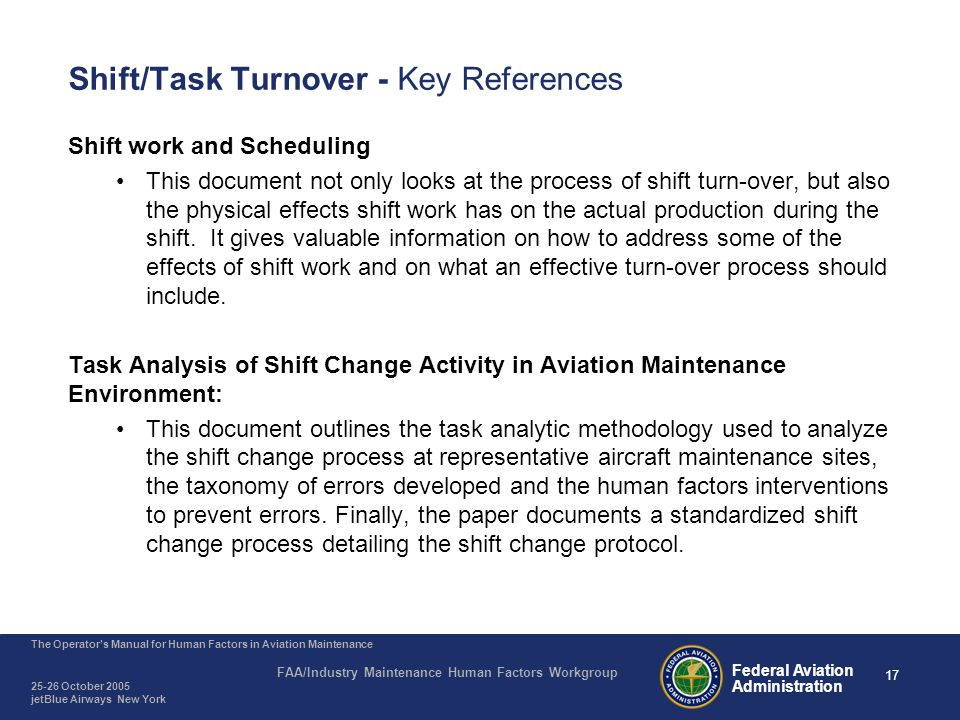 Shift/Task Turnover - Key References (continued)