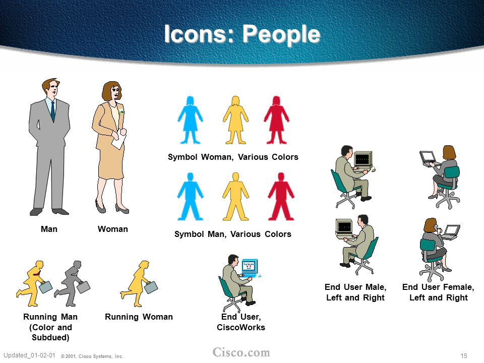 Icons: People Symbol Woman, Various Colors Man Woman