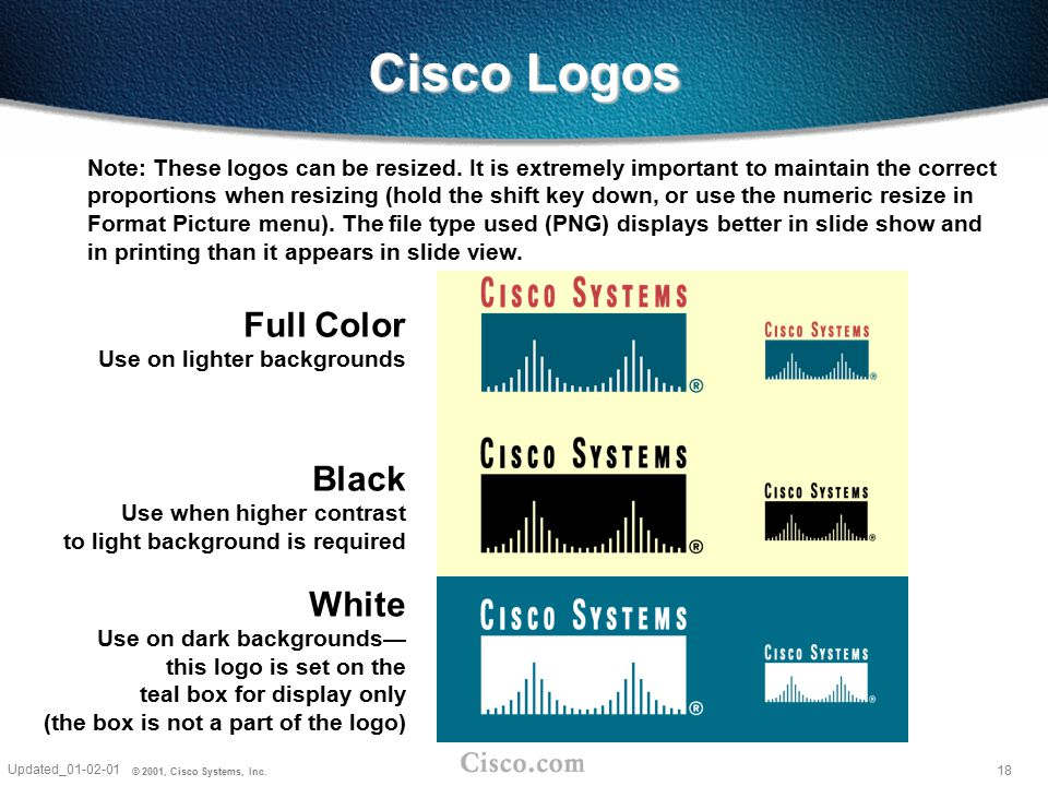 Cisco Logos Full Color Use on lighter backgrounds
