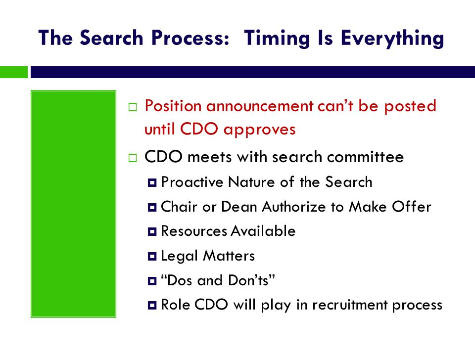 The Search Process: Timing Is Everything