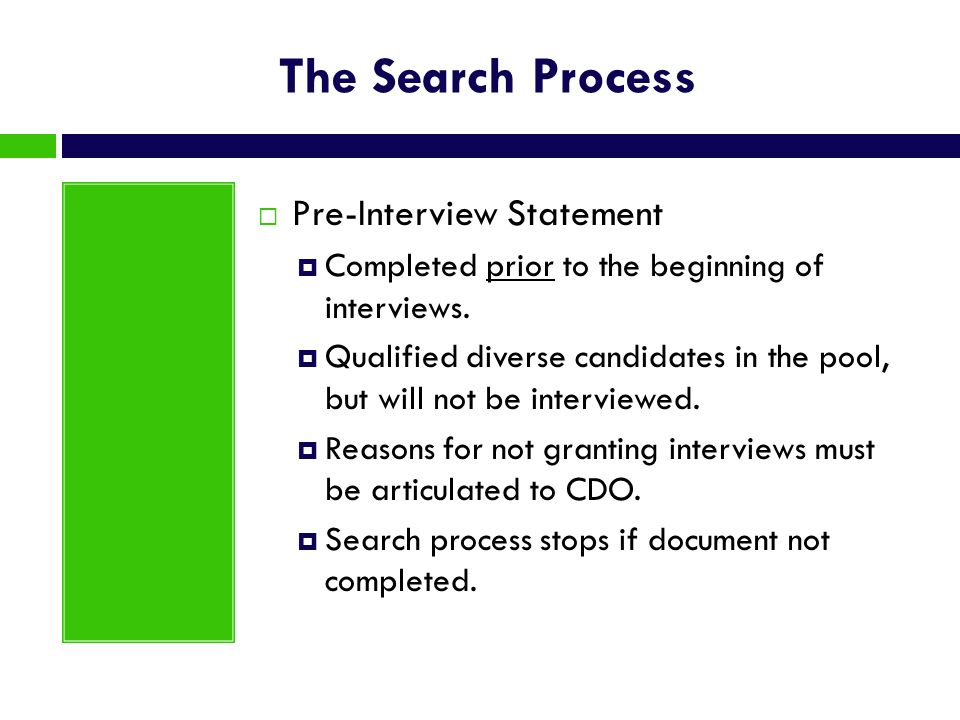 The Search Process Pre-Interview Statement