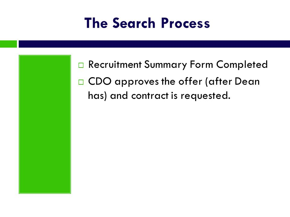 The Search Process Recruitment Summary Form Completed