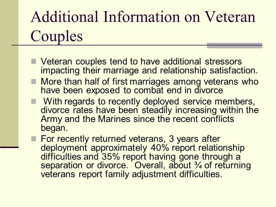 Additional Information on Veteran Couples