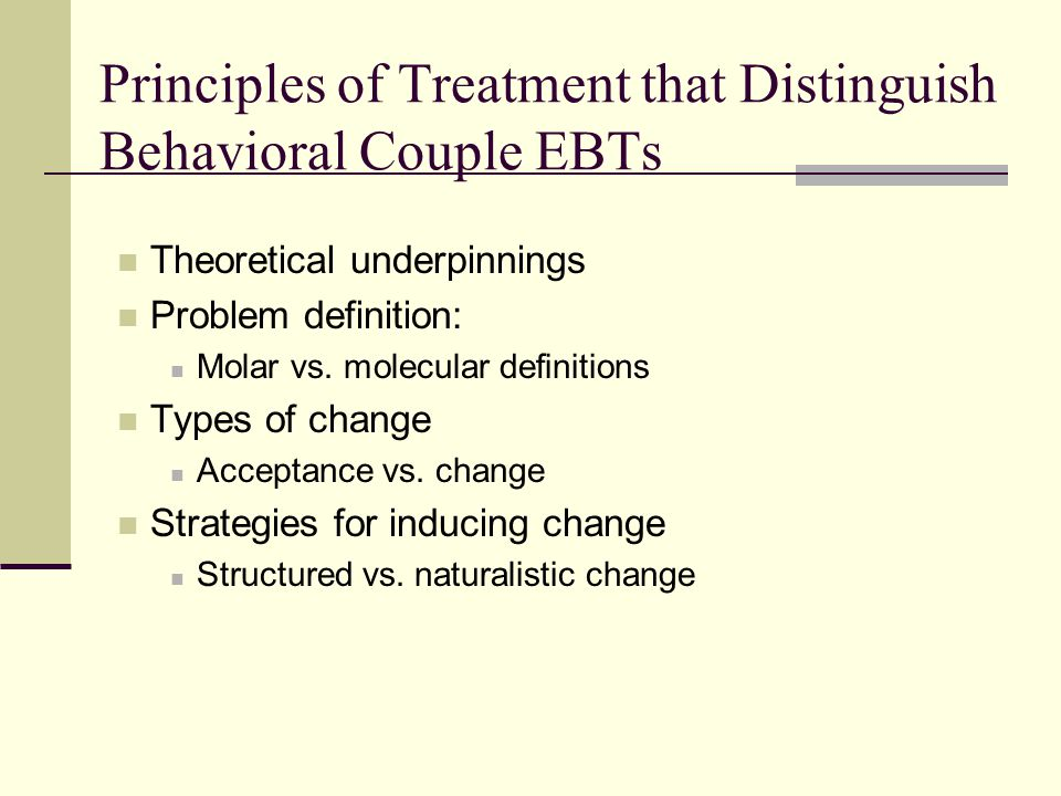Principles of Treatment that Distinguish Behavioral Couple EBTs
