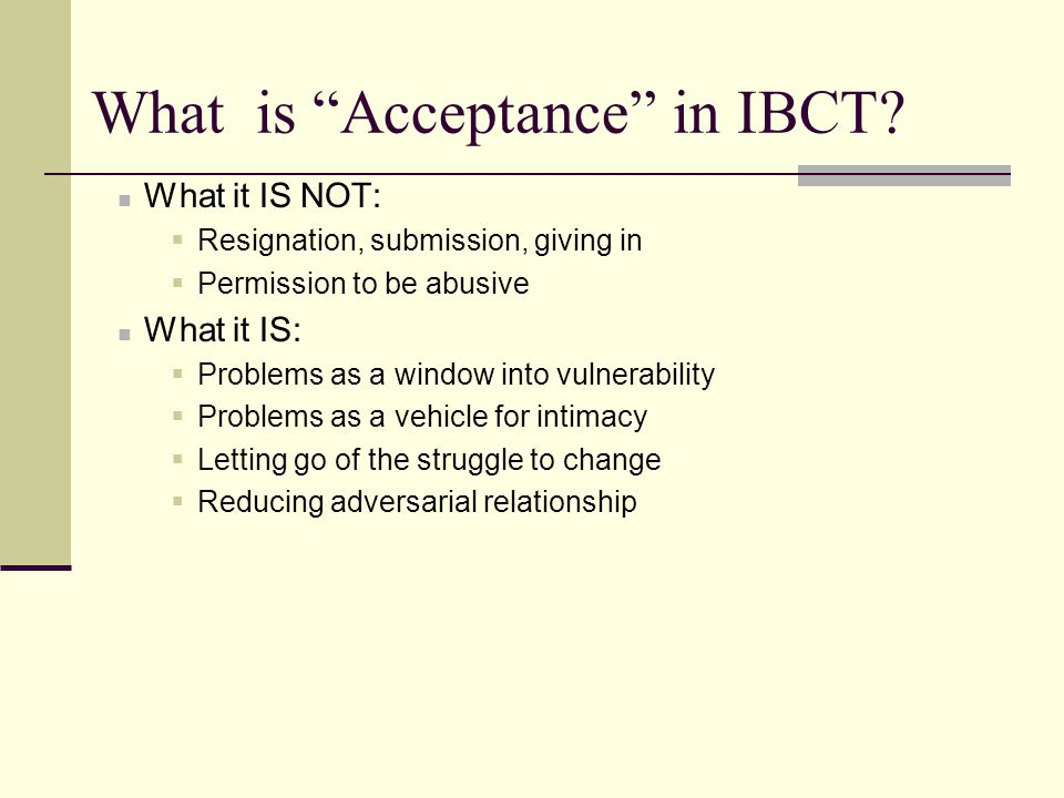 What is Acceptance in IBCT