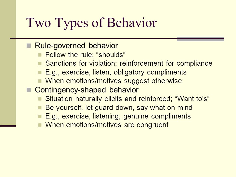 Two Types of Behavior Rule-governed behavior