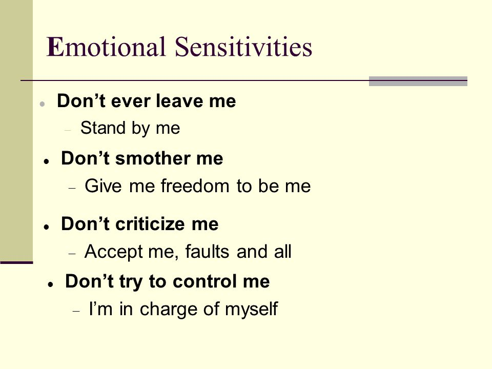 Emotional Sensitivities