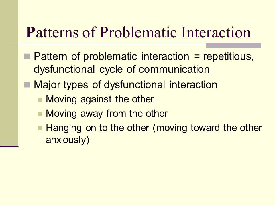 Patterns of Problematic Interaction