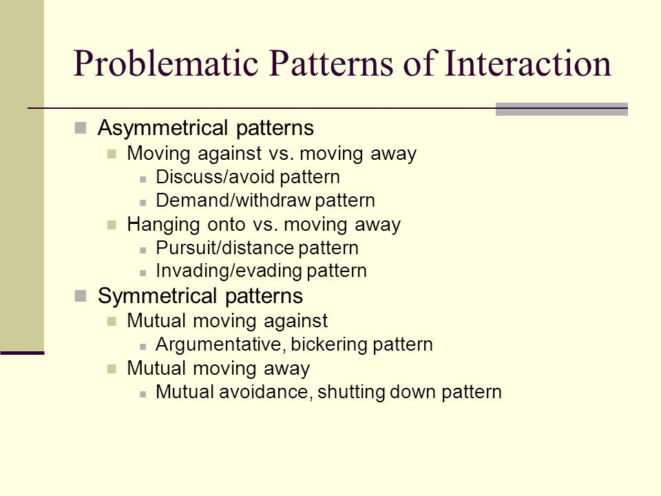 Problematic Patterns of Interaction