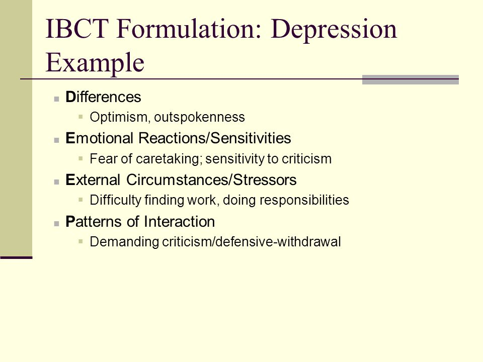IBCT Formulation: Depression Example