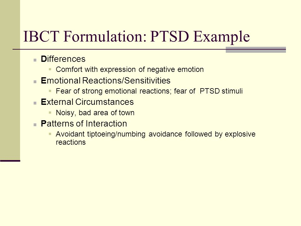 IBCT Formulation: PTSD Example