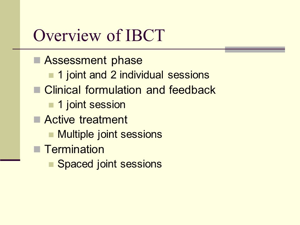 Overview of IBCT Assessment phase Clinical formulation and feedback