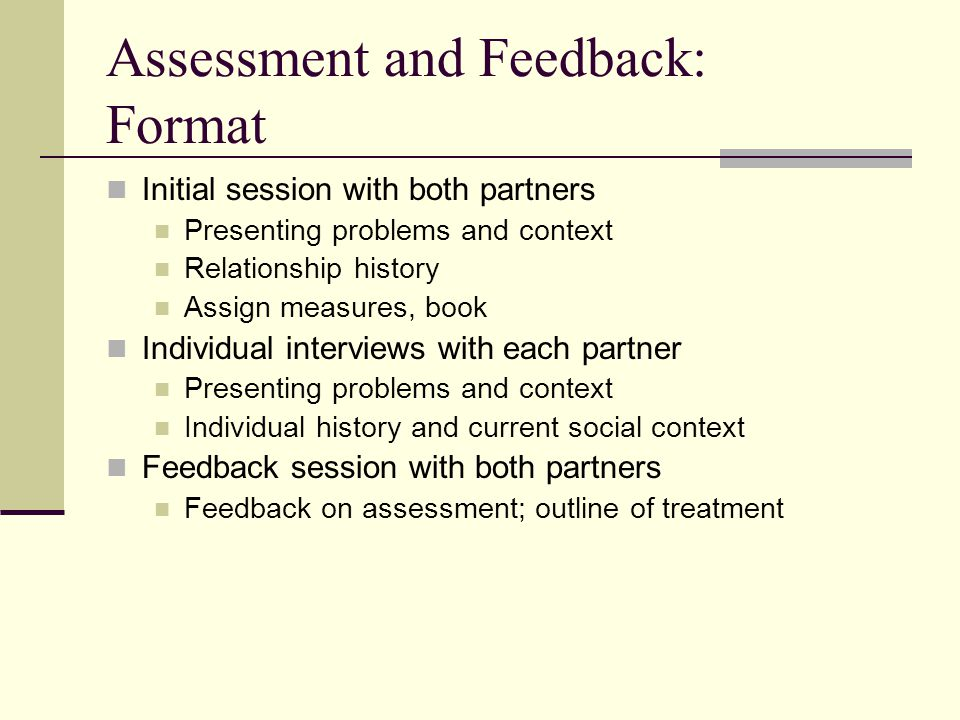 Assessment and Feedback: Format