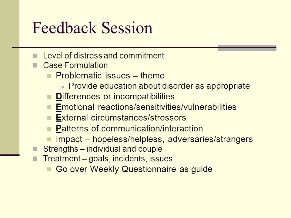 Feedback Session Problematic issues – theme