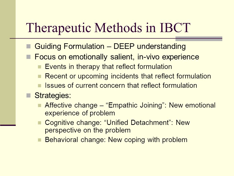 Therapeutic Methods in IBCT