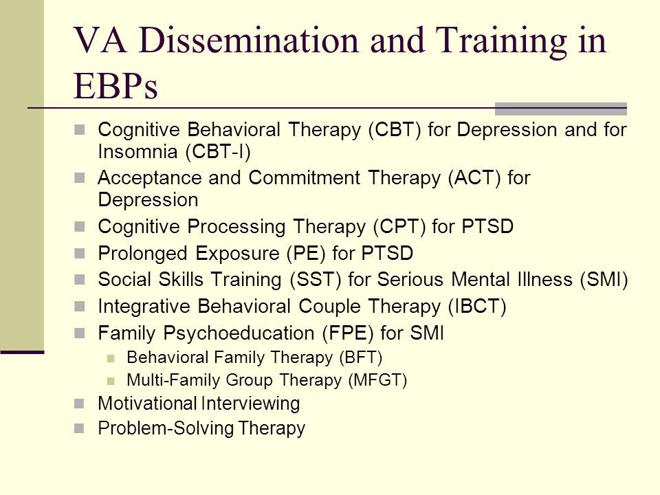 VA Dissemination and Training in EBPs