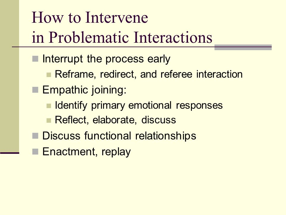 How to Intervene in Problematic Interactions