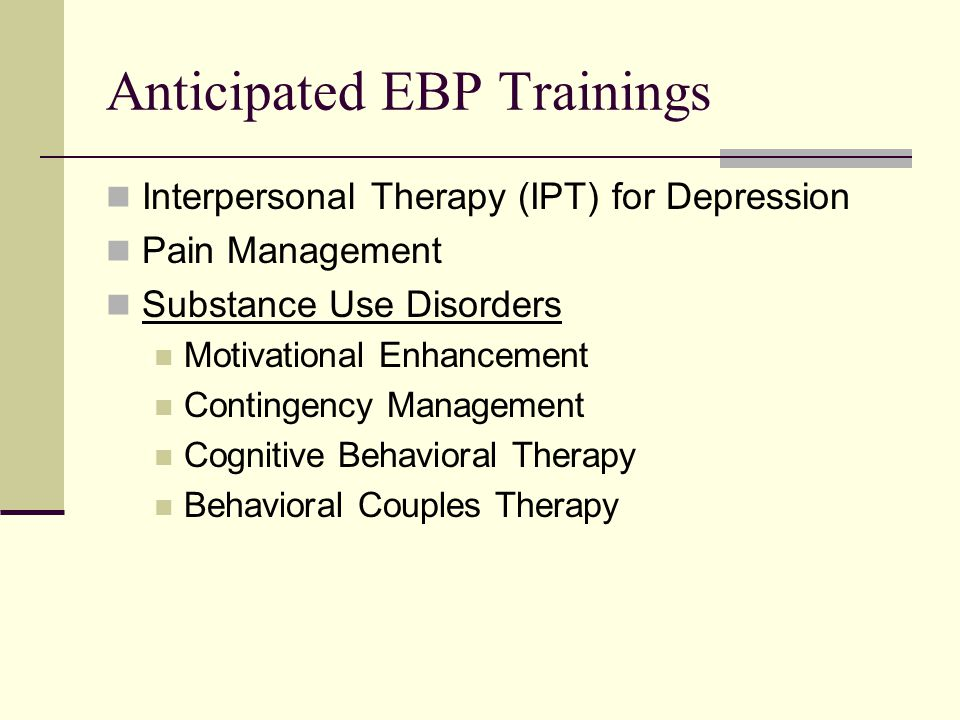 Anticipated EBP Trainings