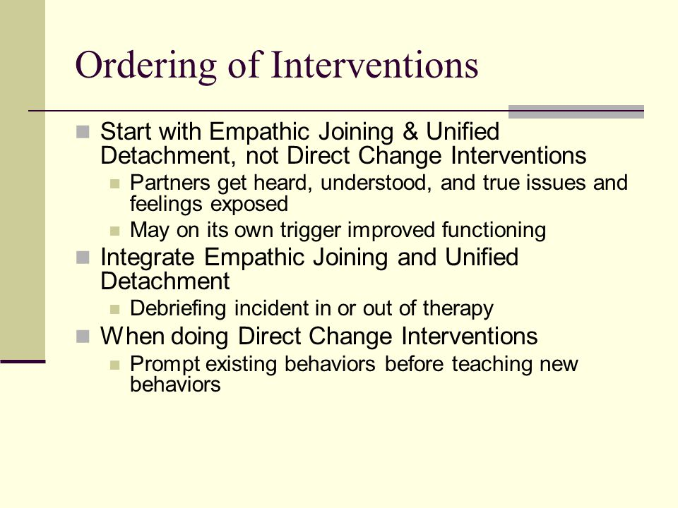 Ordering of Interventions