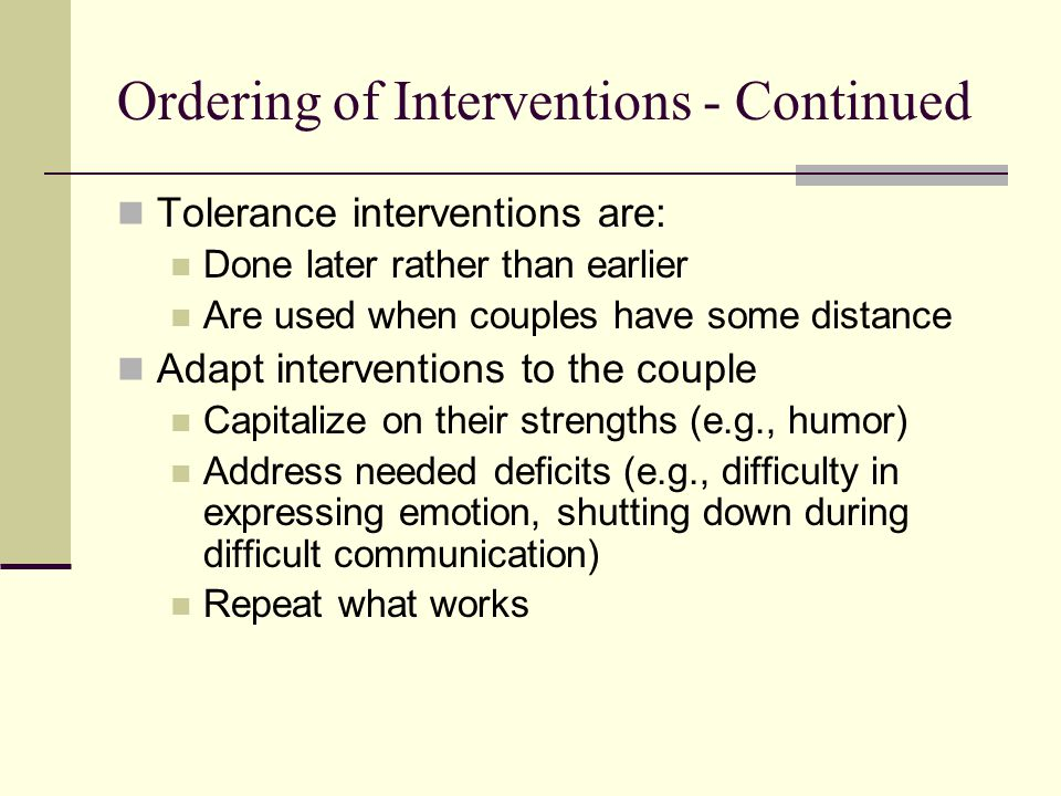 Ordering of Interventions - Continued